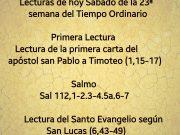Lecturas de hoy Sábado de la 23ª semana del Tiempo Ordinario