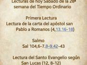 Lecturas de hoy Sábado de la 28ª semana del Tiempo Ordinario