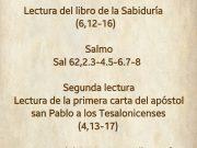 Lecturas de hoy Domingo 32º del Tiempo Ordinario – Ciclo A